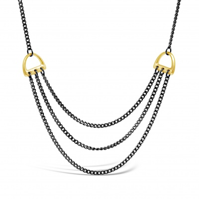 Derby Necklace Black Chain and Gold