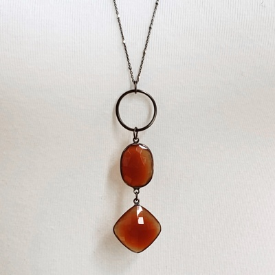 Dark orange quartz Necklace