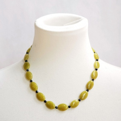 Yellow Serpentine and Hematite Necklace