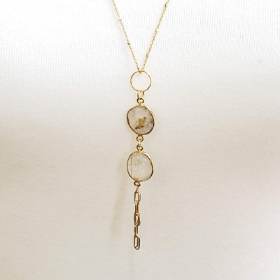 Gold Rutilated Quartz Necklace