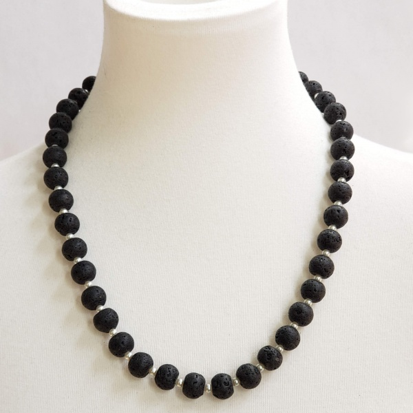 Lava and Pearl Necklace