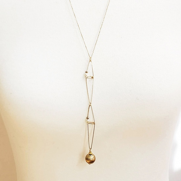 Geometric Long Gold Necklace
