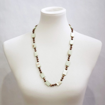Toffee Pearl & Ice Green Stone Necklace