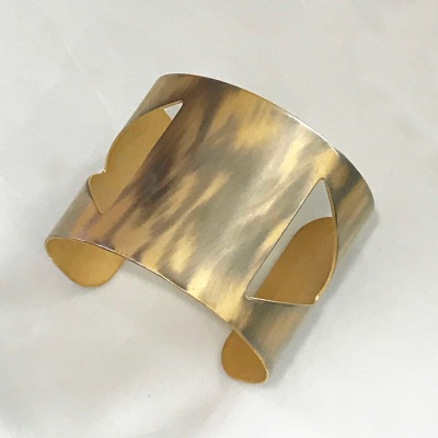 Geometric Cutout Brushed Brass Cuff