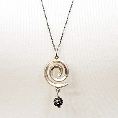 Silver Spiral Sparkle Necklace