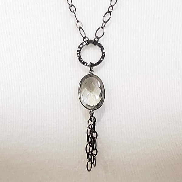 Oval Clear Crystal on Black Chain
