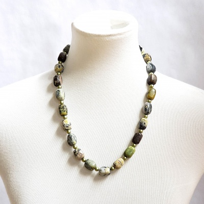 Serpentine and Pearl Green Beads Necklace