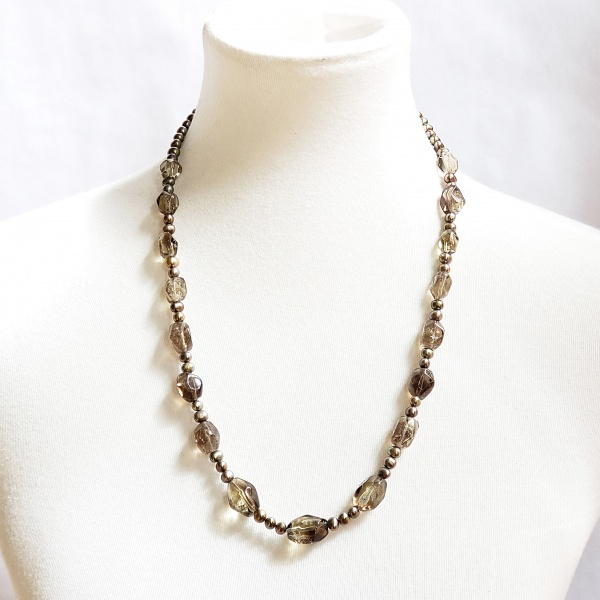 Smoky Quartz and Gray Pearl Necklace