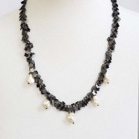 Black flowers necklace with glass baroque pearls