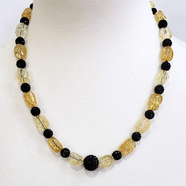 Yellow and Black sparkle necklace