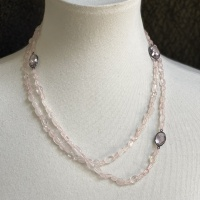 Long rose quartz and crystal necklace
