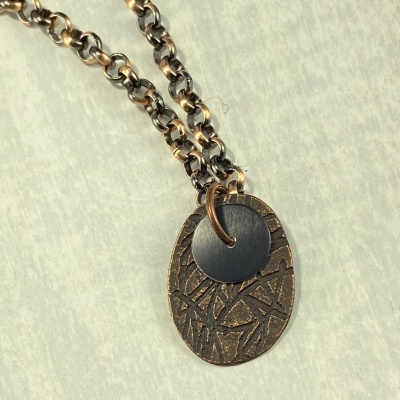 Antiqued copper necklace