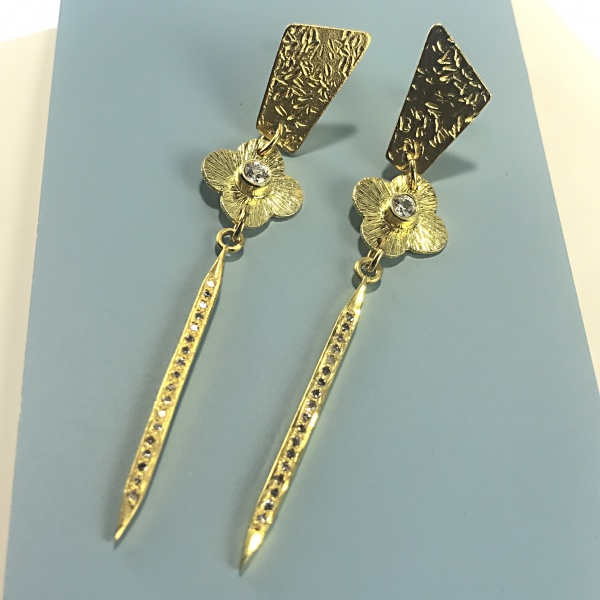 CZ Diamond spike earrings