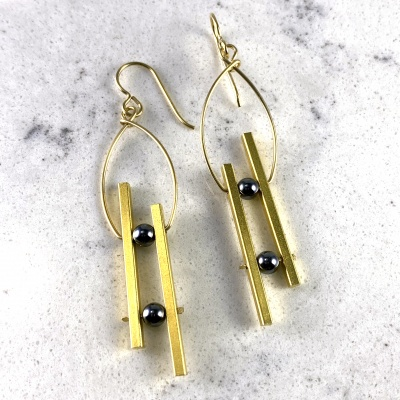 Double Bar Earrings -  gold & hematite
