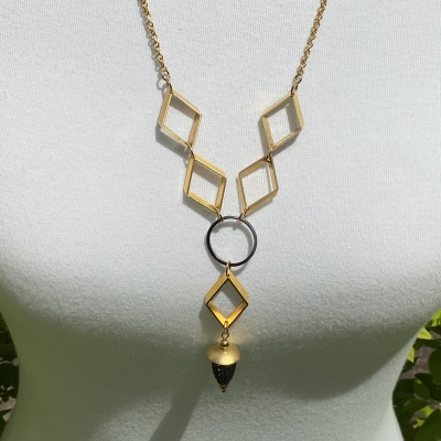 Gold & Black Diamond Necklace