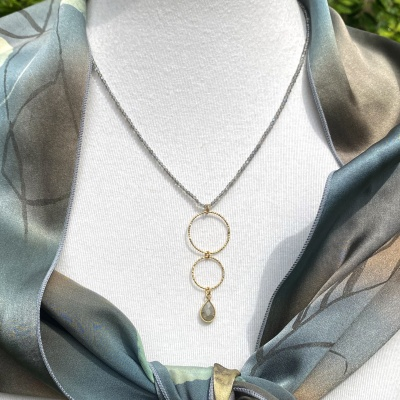 Labradorite and gold rings necklace