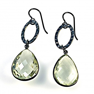Pear shaped crystal & black ring earrings