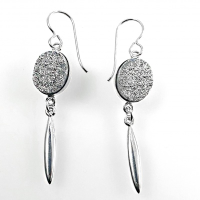 Silver druzy w drop spike earrings