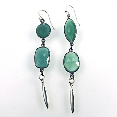 Double green crystal & spike earrings
