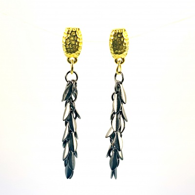 Gold hammered post & black leaves earrings