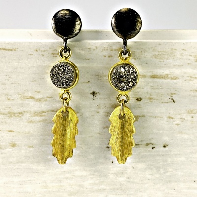 Druzy & gold leaf earrings 1993