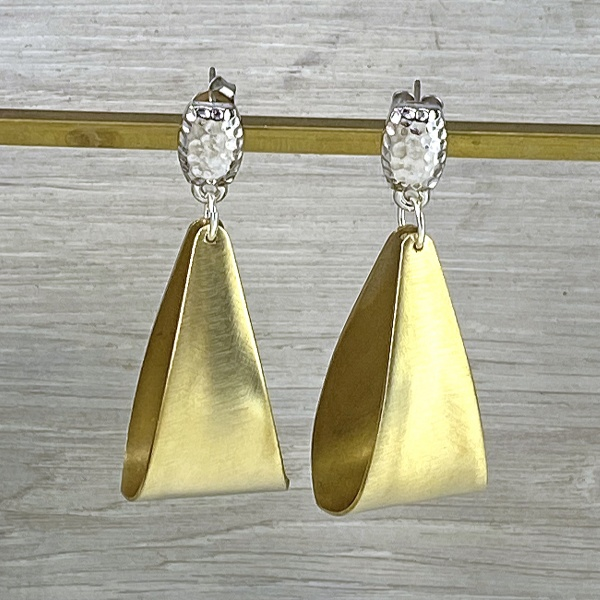 Brass fold & silver top earrings 2295