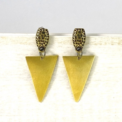 Brass triangle & antique top earrings 2298
