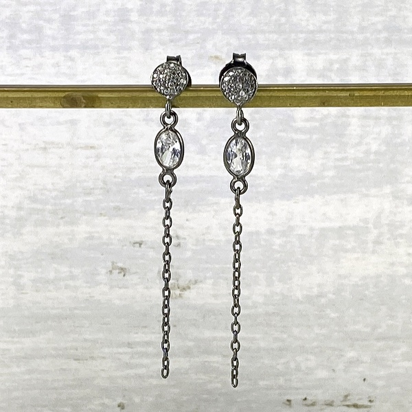 CZ studded black drop earring 2307