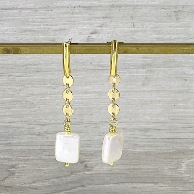 Delicate gold chain & pearl earrings 2289