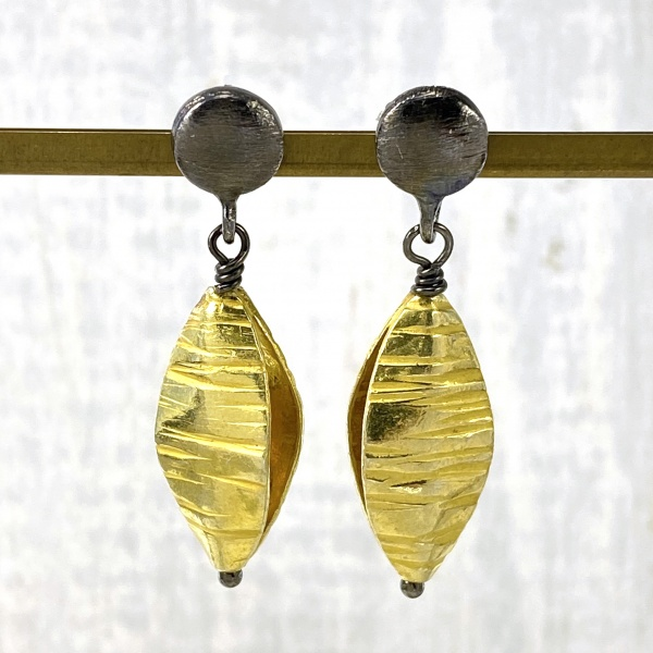 Gold pod earrings 2004