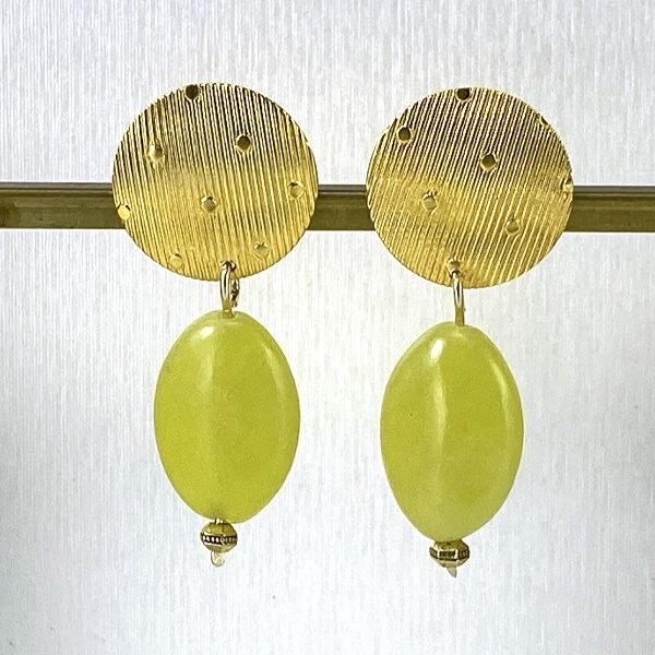 Gold & lime oval stone earrings 2264