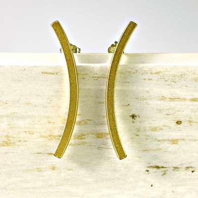 Curved gold bar earrings 1994