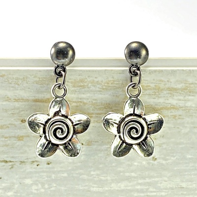 Silver flower Earrings 2054