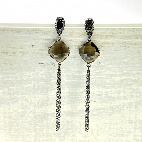 Smokey crystal and fringe Earrings 2053