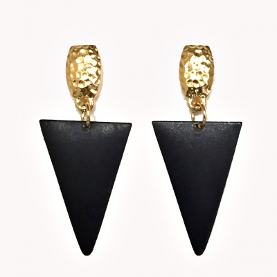 Hammer top & black triangle earrings 2142D