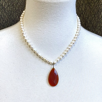Pearl & Carnelian Necklace