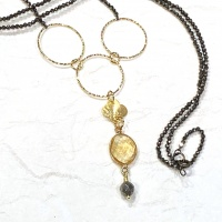 Pyrite & gold Necklace 3845