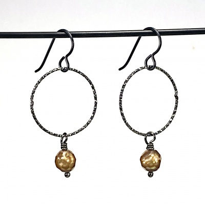 Brown faceted pearl earrings 5266