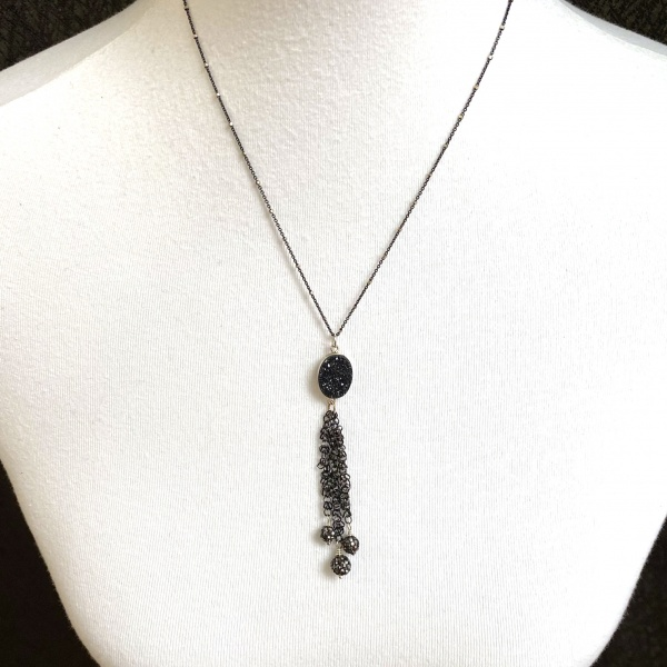 Druzy fringe necklace 5111