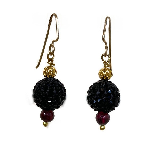 garnet & black sparkle earring 4034