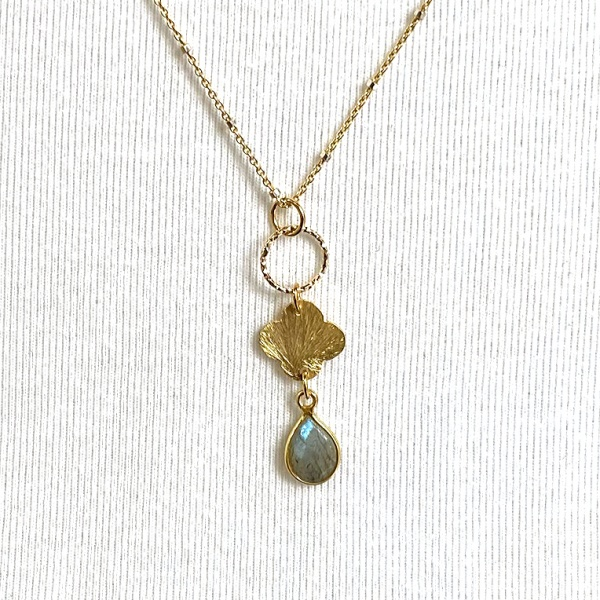 Labradorite quatrefoil necklace 5116