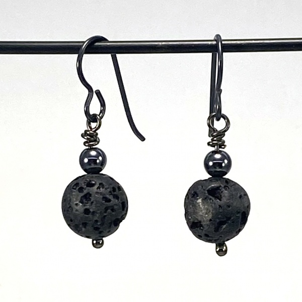 Lava & hematite earrings 5262